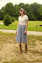 modcloth boots - vintage skirt - American Eagle blouse