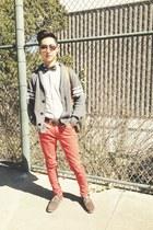 red Zara jeans - white American Apparel shirt