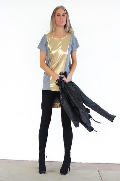 black Zara jacket - Zara boots - black Sussan leggings