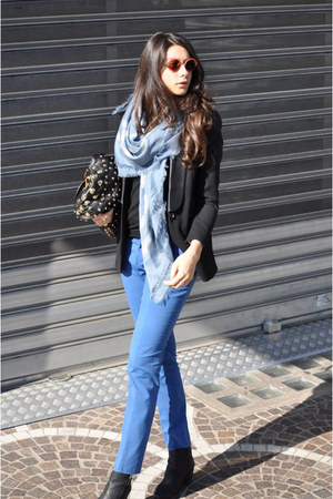 black BE&D bag - black Vero Moda jacket - sky blue Gucci scarf