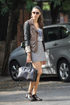 black Givenchy bag - light purple SANDRO top - periwinkle Jil Sander skirt