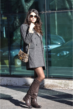beige mauro grifoni coat - dark brown Prada boots - nude Miu Miu bag