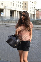 white Zara shirt - peach Zara shirt - black Givenchy bag