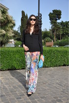 black mauro grifoni shirt - sky blue American Apparel bag - peach Etro pants
