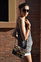 brown animalier Miu Miu bag - nude H&M shorts - gold portobello market bracelet