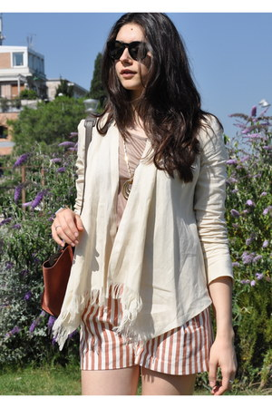 ivory Max Mara jacket - Celine bag - tawny Zara shorts - neutral Fendi t-shirt