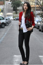 red T57 blazer - white Guess shirt - black balenciaga pants