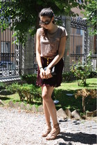 maroon Fendi shirt - crimson Chanel bag - light pink Paola Frani shorts
