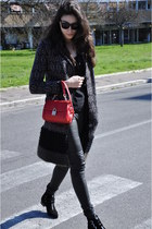 black Tabitha Simmons boots - red Dolce & Gabbana bag - black Rick Owens pants