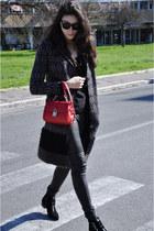 black Tabitha Simmons boots - red Dolce & Gabbana bag - black Rick Owens pants
