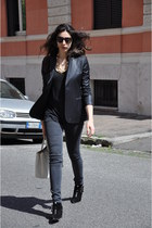 black Tabitha Simmons boots - charcoal gray Victoria Bechkam jeans