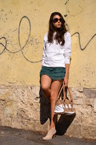 teal Max & Co skirt - white vintage sweater - neutral Burberry bag