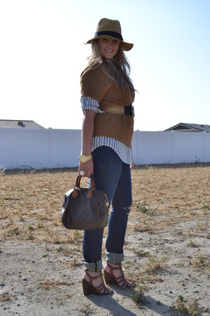 J Brand jeans - H&M sweater - H&M shirt - Louis Vuitton bag - Nine West wedges -