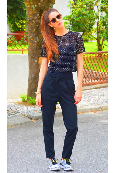 black Zara top - black Zara pants