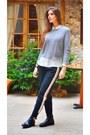 Silver-mango-sweater-black-zara-pants