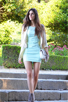 aquamarine AX Paris dress - camel Aldo shoes - cream Mango blazer - Chanel bag