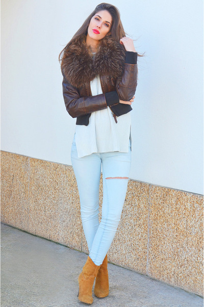 dark brown leather Pepe Jeans jacket - cream knit Mango sweater