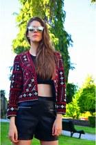 ruby red Zara jacket - black Mango top