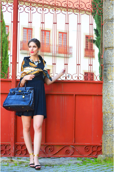 gold silk Hermes scarf - black Mango dress