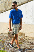 blue Lacoste shirt - vintage Louis Vuitton bag - tan Zara shorts