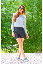 silver Zara sweater - black Zara shorts