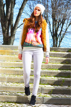 silver denim J Brand jeans - white angora H&M hat - pink cotton romwe sweater