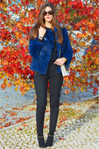 blue Viriato coat - black sequins romwe sweater - white leather Zara bag