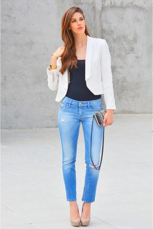 white Mango jacket - black American Apparel top