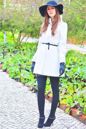 white Zara coat - black H&M hat