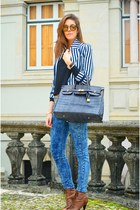 periwinkle denim Mango jeans - navy H&M jacket