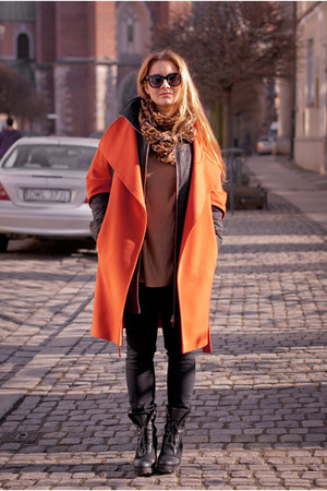 black River Island boots - carrot orange SASKA coat - dark brown SASKA jacket