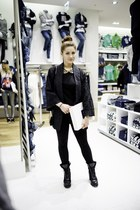 black River Island boots - black Zara leggings - black Esprit top