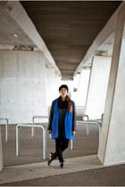 blue SASKA coat - navy SASKA blouse - black H&M pants