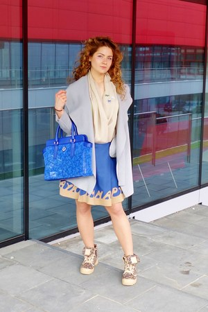 silver angora wool Saska Fashion coat - camel Palladium Boots boots