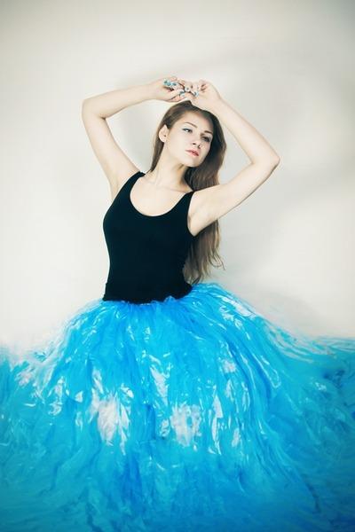 turquoise blue DIY skirt - black Lolita Accessories bodysuit