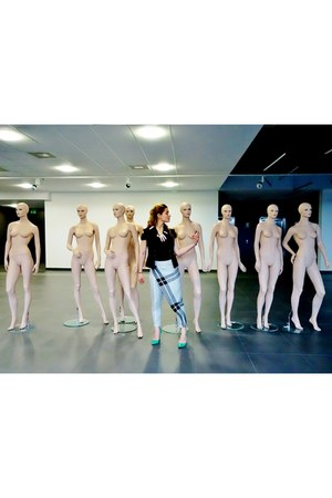 black Saska Fashion vest - periwinkle Ewa Torres pants - green kazar heels