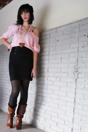 brown deb shoes - black skirt - pink 2nd Hand shirt - black accessories - white 