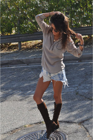 silver Forever 21 blouse - blue Levis shorts - brown vintage boots
