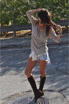 silver Forever 21 blouse - blue Levis shorts - brown vintage boots