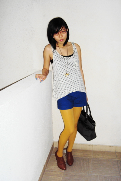 yellow Topshop tights - brown shoes - blue cotton on shorts - white Forever21 to