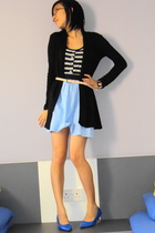 blue shoes - blue flesh imp dress - black cotton on cardigan - beige cotton on b