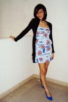 black cotton on cardigan - blue shoes - white dress