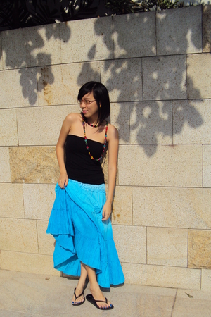 blue skirt - black mphosis top - black Ipanema shoes - orange necklace