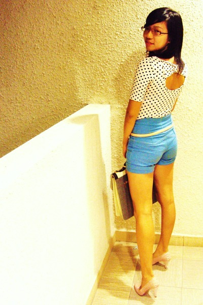 pink cotton on top - pink Newlook shoes - blue Bugis Street shorts - beige cotto