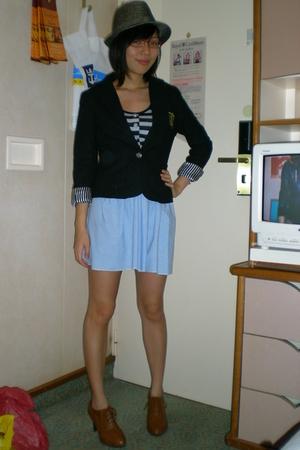 black Sg Wang blazer - blue flesh imp dress - gray Sg Wang hat - brown shoes
