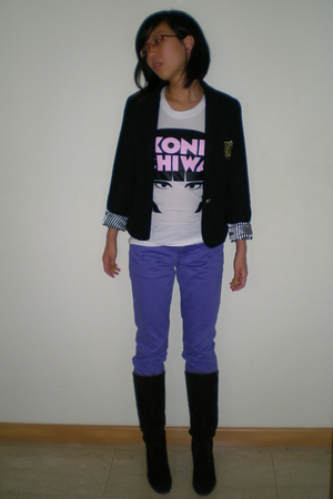 purple Uniqlo jeans - brown from hong kong boots - black from malaysia blazer -