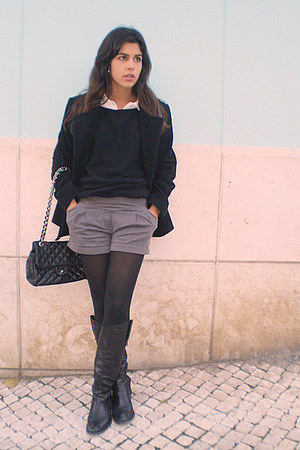 white Gap shirt - black H&M sweater - charcoal gray Pepe Jeans shorts - black Ch