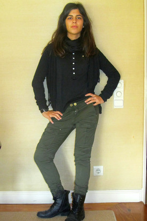 green Stradivarius pants - black New Yorker boots - black vintage scarf