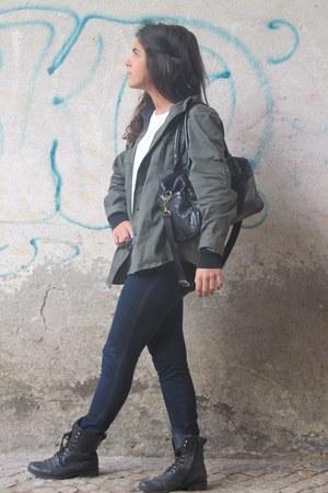 black New Yorker boots - navy Primark jeans - white Zara t-shirt - black Zara ca