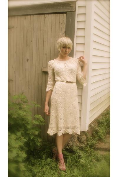 crochet nicole miller dress - American Apparell socks - gold belt